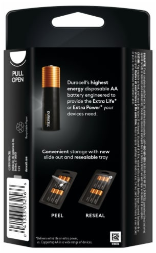 Duracell Optimum AA Alkaline Batteries Perspective: back