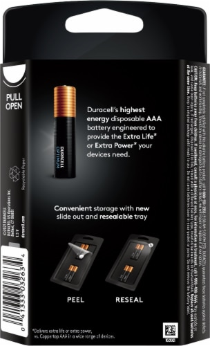 Duracell® Optimum AAA Alkaline Batteries Perspective: back