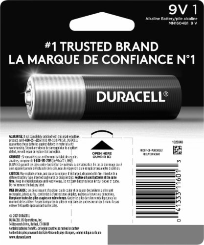 Duracell 9V Alkaline Battery Perspective: back