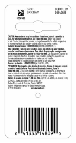 Duracell® 384/392 Silver Oxide Battery Perspective: back