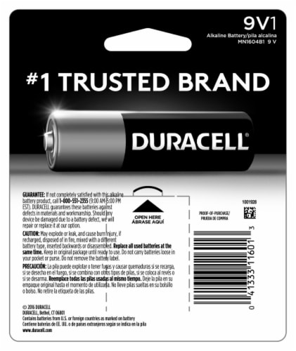 Duracell 9V Alkaline Batteries Perspective: back