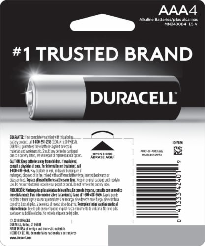 Duracell Coppertop AAA Alkaline Batteries 4 Pack Perspective: back