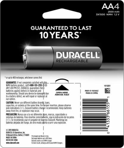 Duracell Rechargeable AA Batteries Perspective: back