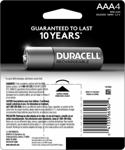 Duracell Rechargeable AAA Batteries Perspective: back