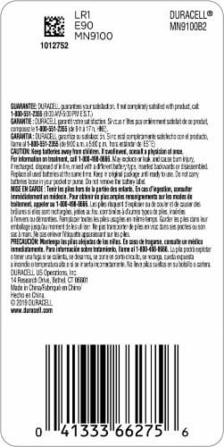 Duracell N Alkaline Batteries Perspective: back