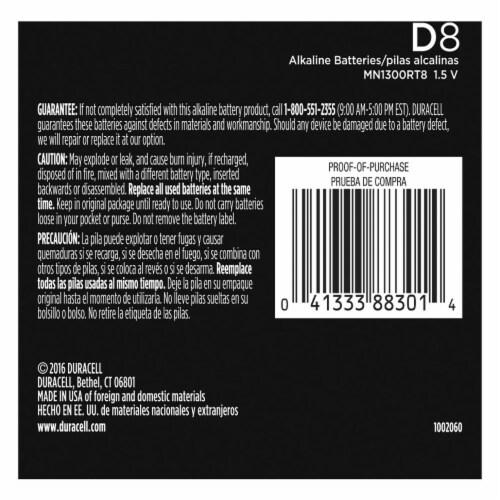 Duracell D Alkaline Batteries Perspective: back