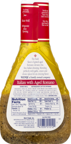 Ken's Steak House Italian with Aged Romano Dressing & Marinade Perspective: back