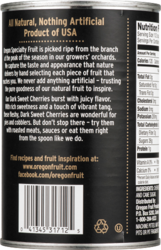 Oregon Fruit Products Pitted Dark Sweet Cherries Perspective: back