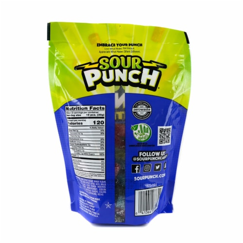 Sour Punch Bites Assorted Flavors Candy Perspective: back