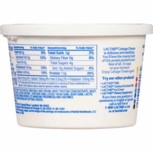 Lactaid® 4% Milkfat Lactose Free Cottage Cheese Perspective: back
