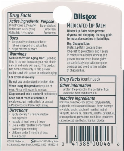Blistex Medicated Lip Balm SPF 15 3 Count Perspective: back