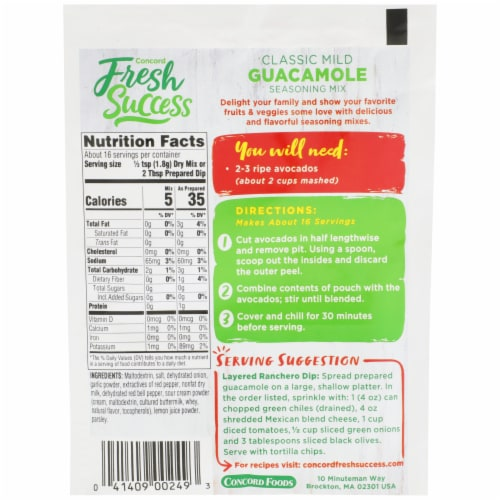 Concord Foods Fresh Success Classic Guacamole Mix Perspective: back