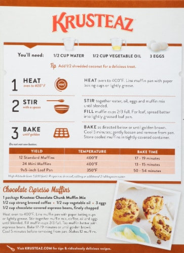 Krusteaz® Chocolate Chunk Muffin Mix Perspective: back