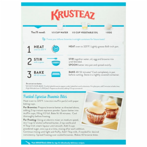 Krusteaz Gluten Free Double Chocolate Brownie Mix Perspective: back