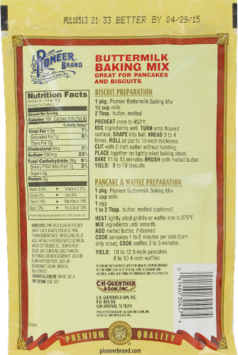 Pioneer Brand Buttermilk Baking Mix Perspective: back