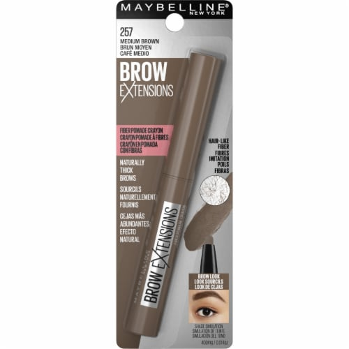Maybelline Brow Extensions Fiber Pomade 257 Medium Brown Crayon Eyebrow Perspective: back