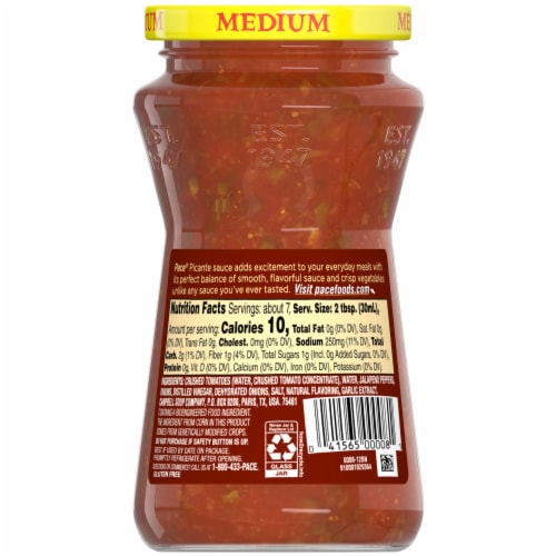 Pace Medium Picante Sauce Perspective: back