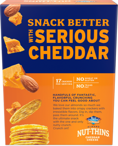 Blue Diamond Cheddar Cheese Almond Nut-Thins Crackers Perspective: back