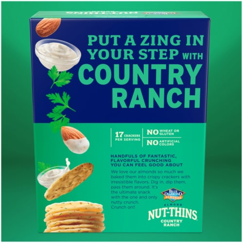 Blue Diamond Country Ranch Almond Nut-Thins Cracker Snacks Perspective: back