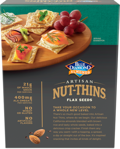 Blue Diamond Almonds with Flax Seeds  Artisan Nut-Thins Cracker Snacks Perspective: back