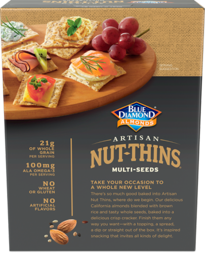 Blue Diamond Almonds  with Multi-Seeds Artisan Nut-Thins Cracker Snacks Perspective: back