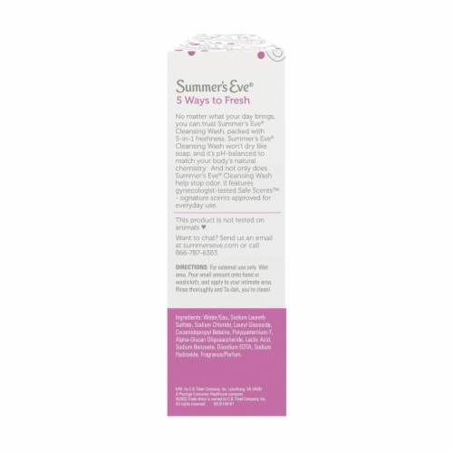 Summer's Eve Cleansing Wash, Simply Sensitive, 15 Fluid Ounce (Pack of 2) Perspective: back