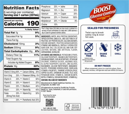 Boost Glucose Control Vanilla Delight Nutritional Drink Perspective: back