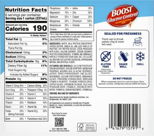 Boost Glucose Control Chocolate Sensation Nutritional Drink Perspective: back