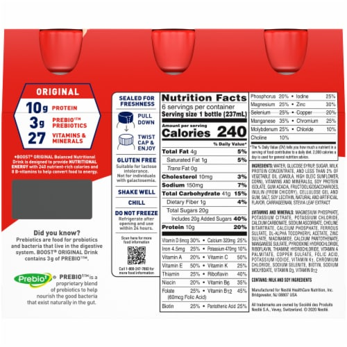 Boost® Original Creamy Strawberry Balanced Nutritional Drinks Perspective: back