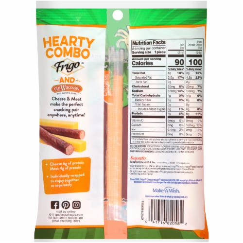 Frigo Cheese Heads Sharp Cheddar & Beef Cheese Sticks Combo Pack Perspective: back