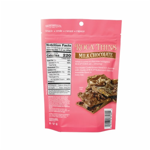 Roca Thins Milk Chocolate with Butterscotch Toffee Perspective: back