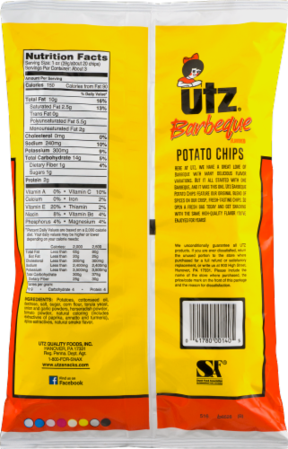 Utz Ripples Barbeque Gluten Free Potato Chips Perspective: back