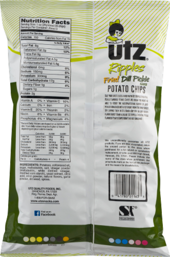 Utz Ripples Fried Dill Pickle Gluten Free Potato Chips Perspective: back