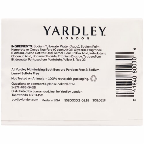 Yardley Oatmeal and Almond Soap Bar Soap Perspective: back