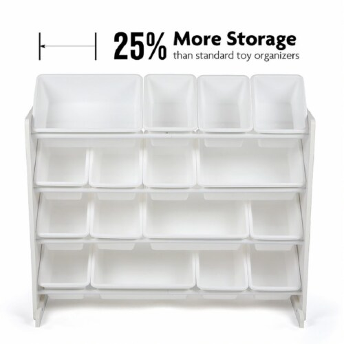 Humble Crew Cambridge Toy Storage Organizer with Storage Bins - White Perspective: back