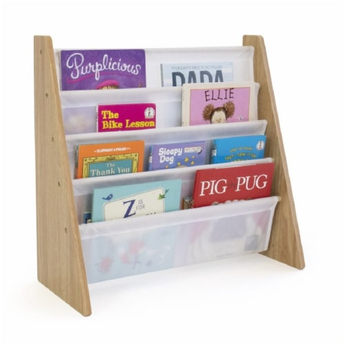 Humble Crew Journey Natural Kids Bookshelf 4 Tier Book Organizer Perspective: back