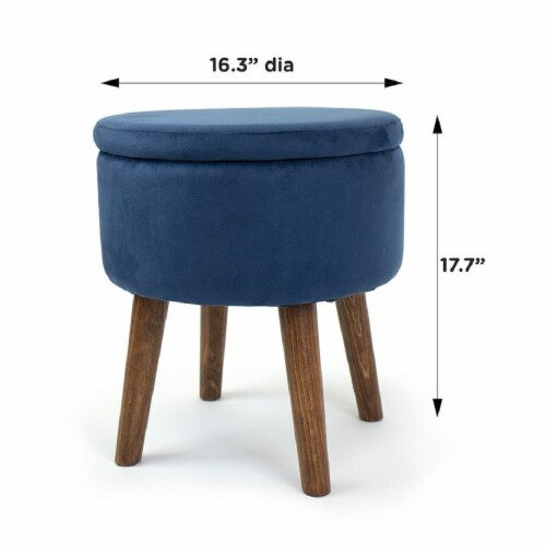 Humble Crew Sloan Velour Round Storage Ottoman - Blue Perspective: back
