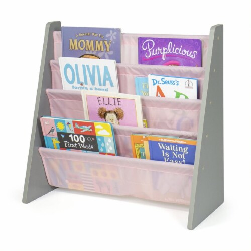 Humble Crew Kids Sophie Bookshelf 4 Tier Book Organizer - Pink Perspective: back