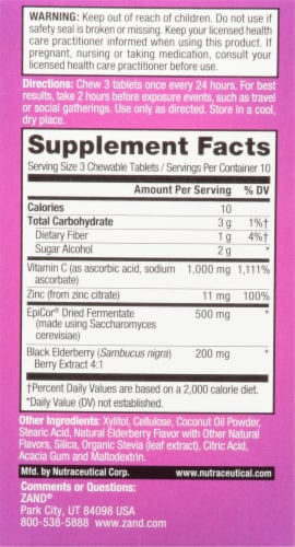 Zand® Naturals Sweet Elderberry Immune Fast Chewable Tablets Perspective: back