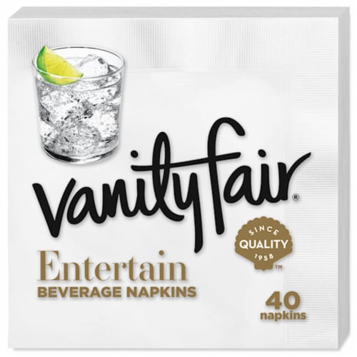 Vanity Fair Entertain White Disposable Paper Beverage Napkins Perspective: back