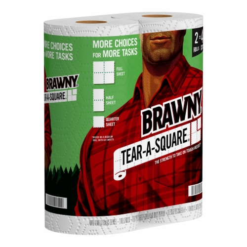 Brawny Tear-A-Square Paper Towel Rolls Perspective: back