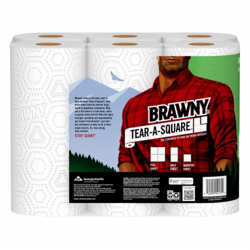 Brawny Tear-A-Square White Paper Towels Perspective: back