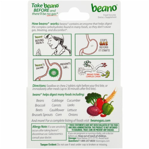 Beano Ultra 800 Food Enzyme Dietary Supplement Tablets 100 Count Perspective: back