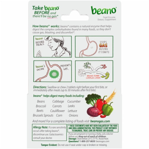 Beano Ultra 800 Food Enzyme Dietary Supplement Tablets Perspective: back