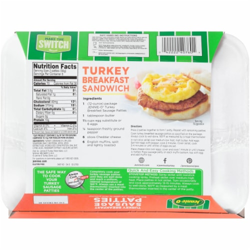 Jennie-O 90% Lean Turkey Breakfast Sausage Patties Perspective: back
