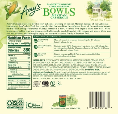 Amy's® Gluten Free Mexican Casserole Bowl Perspective: back