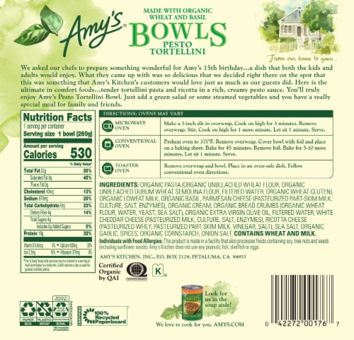 Amy's® Pesto Tortellini Bowl Frozen Meal Perspective: back