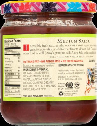 Amy's Organic Medium Salsa Perspective: back