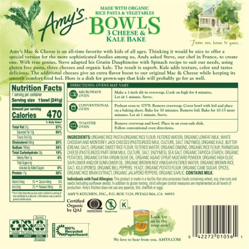 Amy's® Gluten Free 3 Cheese & Kale Bake Bowls Perspective: back