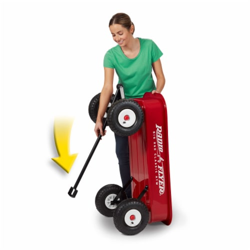 Radio Flyer 1800 Big Red Classic Extra Long Handle All Terrain Wheels Kids Wagon Perspective: back